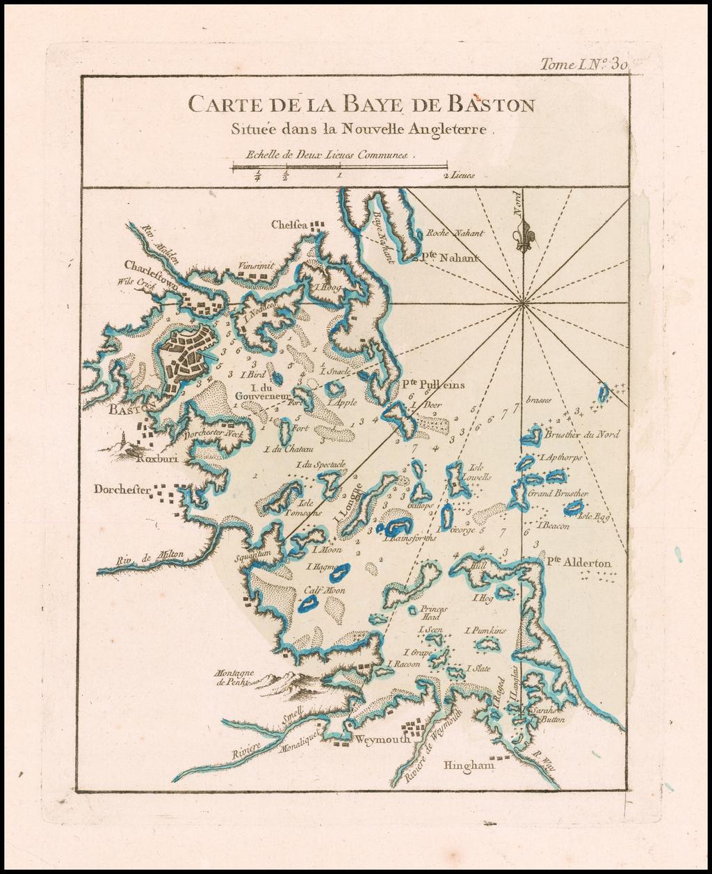 Carte De La Baye De Baston Situee dans la Nouvell Angleterre By Jacques Nicolas Bellin