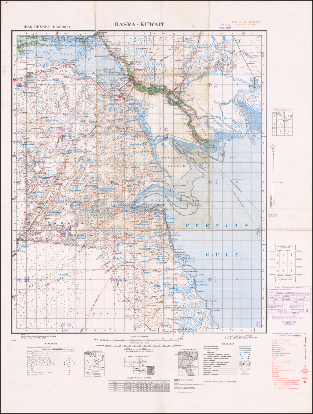 Basra-Kuwait (Edition of 26 May 41) By Geographical Section, War Office (UK)
