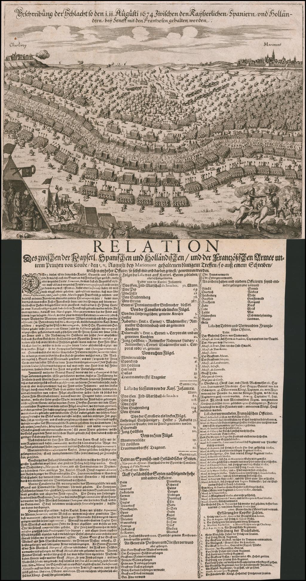 [Battle of Seneffe] Beschreibung der Schlact so den i. ii. Augusti 1674 zwischen den Kayerlichen Spaniern und Hollanddern bey Seness mid den Frantzosen gehalten worden By Wilhelm Serlin