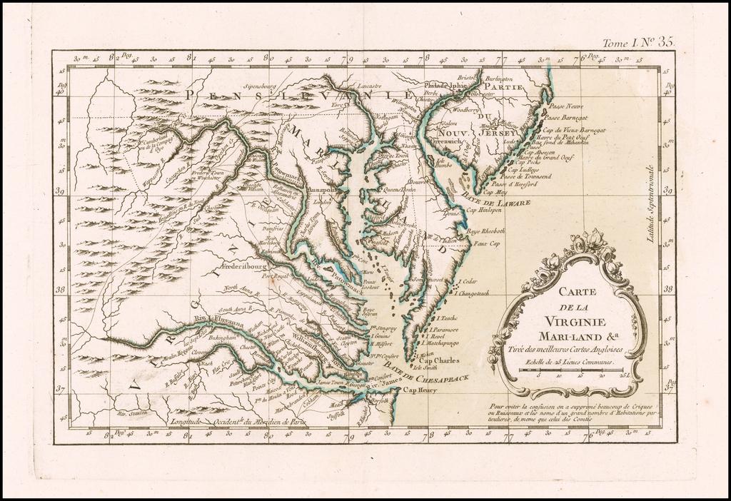 Carte De la Virginie, Mari-land,&c. Tiree des meilleures Cartes Angloises By Jacques Nicolas Bellin