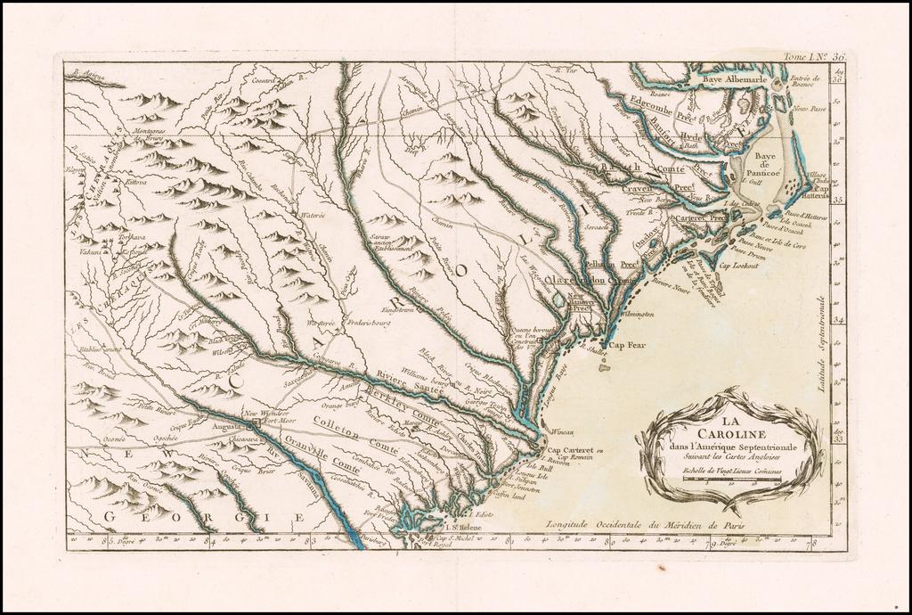 La Caroline dans l'Amerique Septentrionale Suivant les Cartes Angloises By Jacques Nicolas Bellin