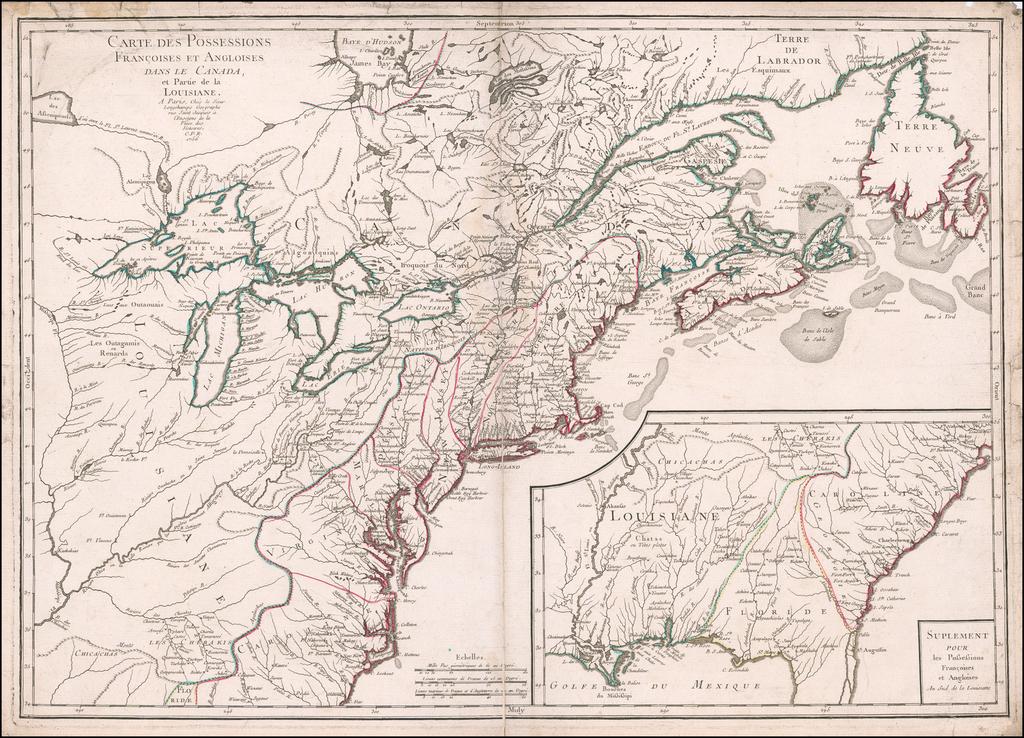 Carte Des Possessions Francoises et Angloises dans le Canada et Partie de la Louisiane . . . 1756    By Pierre-Nicolas Buret de  Longchamps
