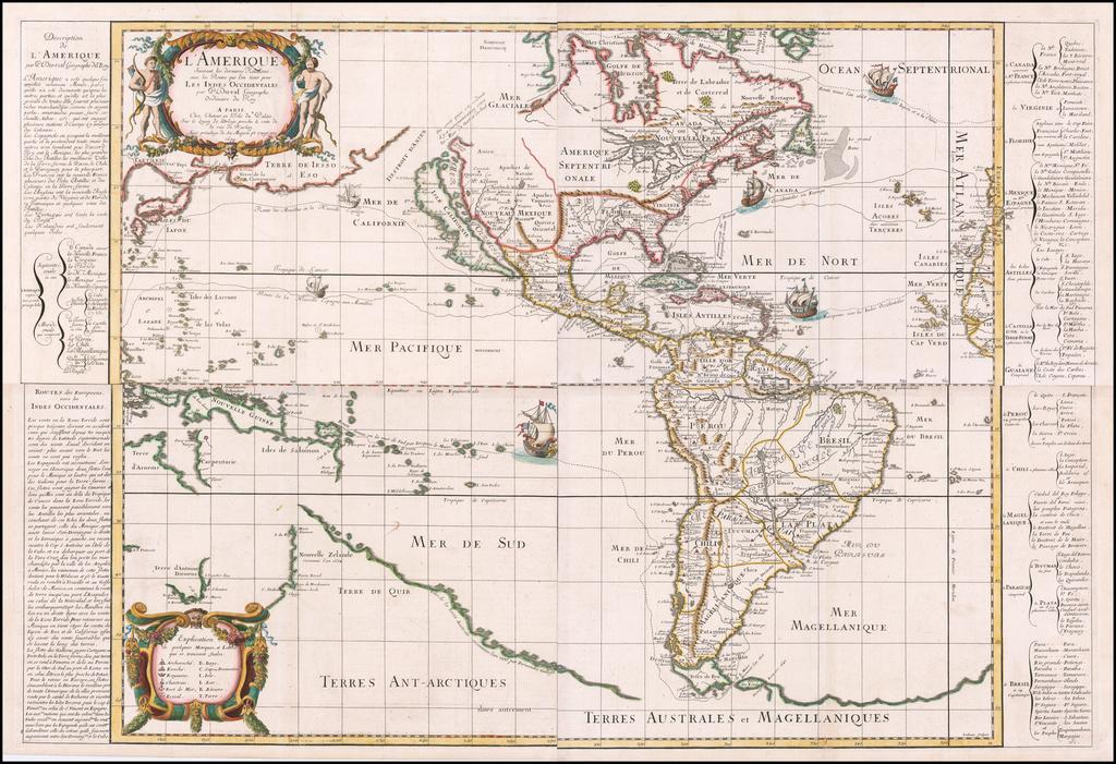 [Wall Map of America]  L'Amerique Suivant les dernieres Relations, avec les Routes que l'on tient pour Les Indes Occidentales par P. Du-val Geographe Ordinaire du Roy. . . 1679. By Pierre Du Val
