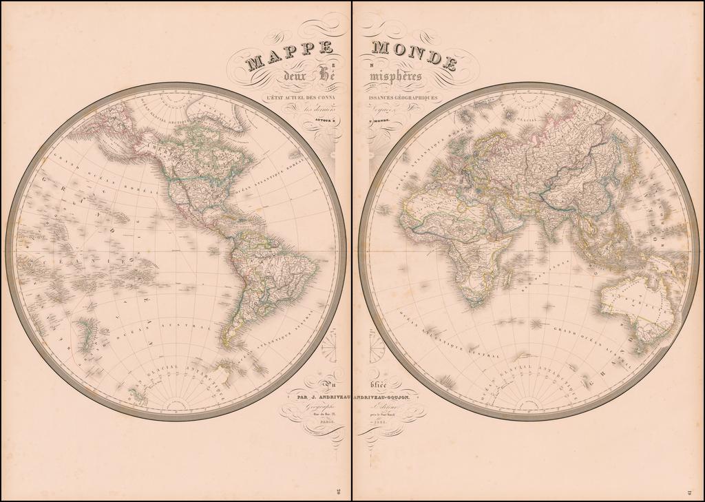 Mappe Monde en deux Hemispheres . . . 1851 [Wall Map of the World] By J. Andriveau-Goujon