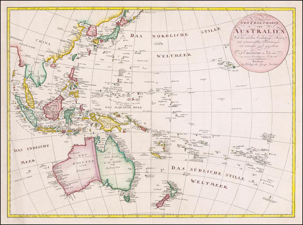 General Charte von Australien Nach ne neuesten Entdeckungs Reisen und astronischen Bestimungen…1803 By Iohann Matthias Christoph Reinecke