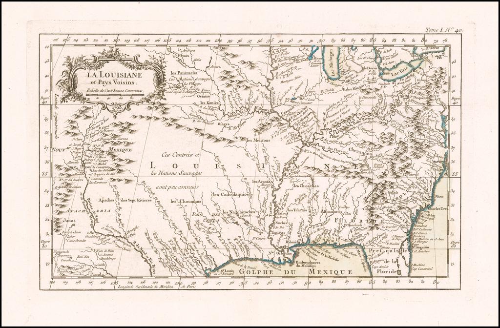 La Louisiane et Pays Voisons By Jacques Nicolas Bellin