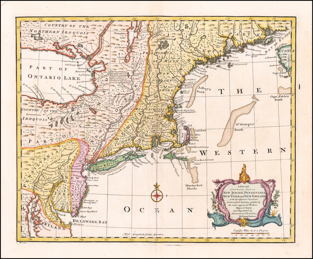 A New and Accurate Map of New Jersey, Pensilvania, New York and New England with the adjacent Countries. . . . By Emanuel Bowen