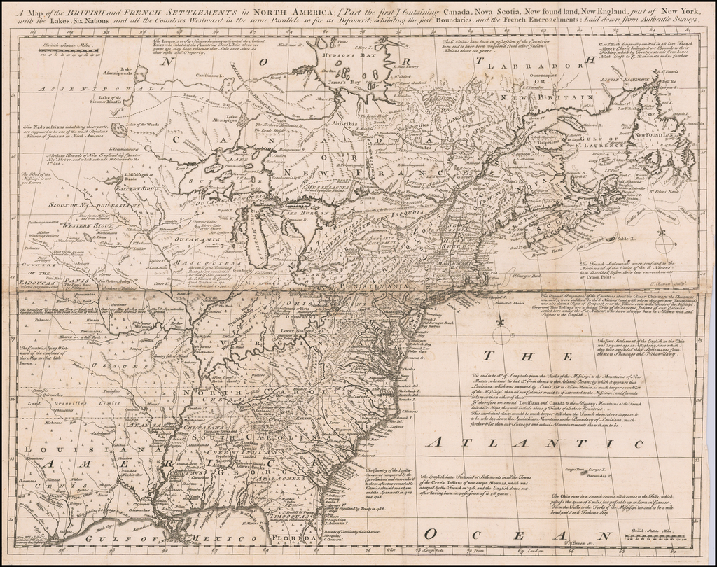 A Map of the British and French Settlements in North America . . . exhibiting the just Boundaries & the French Encroachments: Laid down from Authentic Surveys By Thomas Bowen