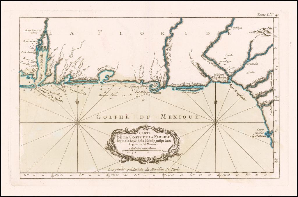 Carte De La Cost De La Floride depuis la Baye de la Mobile jusqu'aux Cayes de St. Martin By Jacques Nicolas Bellin