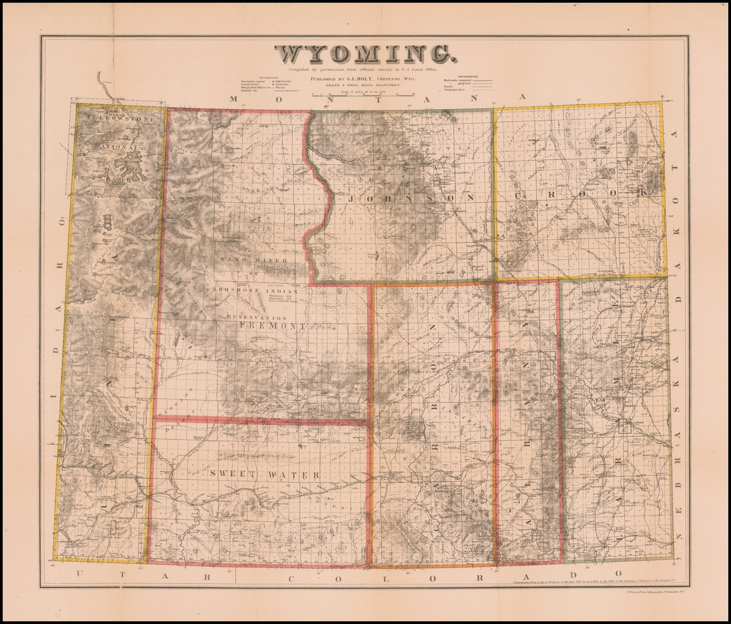 Wyoming.  Compiled by permission from official records of the U.S. Land Office.  Published by G.L. Holt, Cheyenne, Wyo. . . .  (with Report of the Governor of Wyoming) By G.L. Holt