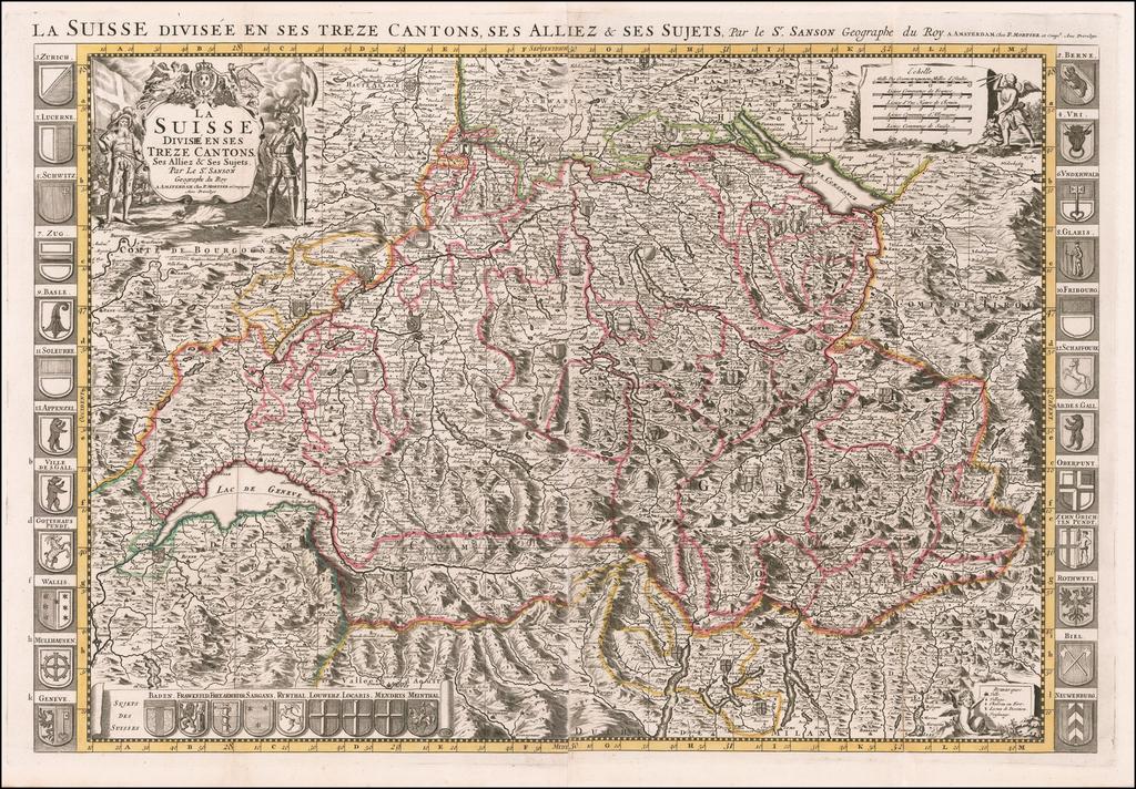 La Suisse Divisee en ses Treze Cantons, Ses Alliez & Ses Sujets Par Le. Sr. Sanson . . . By Alexis-Hubert Jaillot / Pieter Mortier