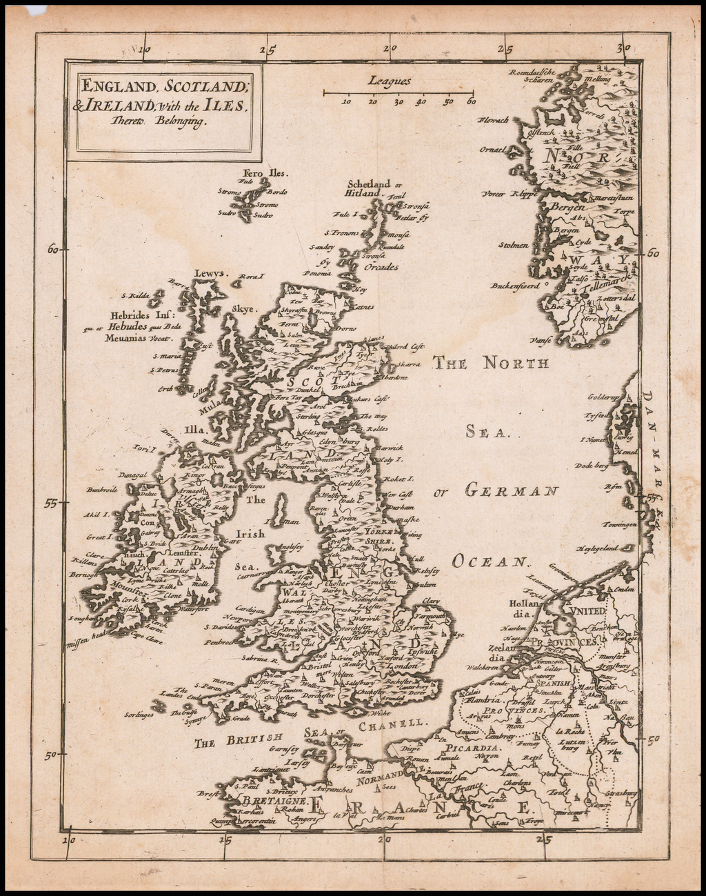 England, Scotland, & Ireland, With the Iles Thereto Belonging By Sir Jonas Moore