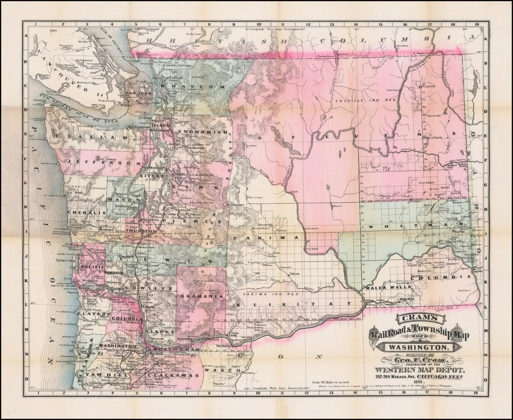 Cram's Rail Road & Township Map of Washington . . . 1881 By George F. Cram