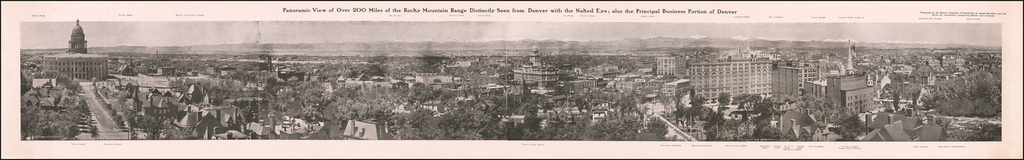 Panoramic View of Over 200 Miles of the Rocky Mountain Range Distinctly Seen From Denver with the Nake Eye;  also the Principal Business Portion of Denver By William Henry Jackson