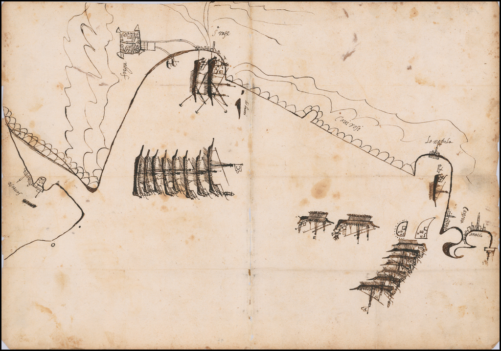[Manuscript Map of Barbary Pirates off the Cote d'Azur, showing the coast from Antibes to St. Tropez, with Printed Pamphlet of Court Case Against The Spanish Ship Captains For Abandoning Their Ships To The Pirates] By Anonymous