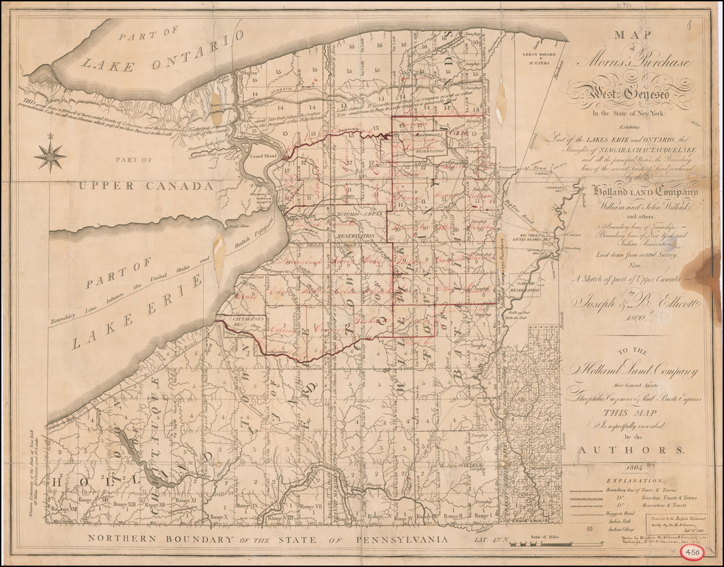 Map of Morris's Purchase or West Geneseo In the State of New York. Exhibiting Part of the Lakes Erie and Ontario, the Straights of Niagara, Chautauque Lake and all the principal Waters, the Boundary lines of the several Tracts of Land purchase by the Holland Land Company,  . . . 1800 By Joseph Ellicott