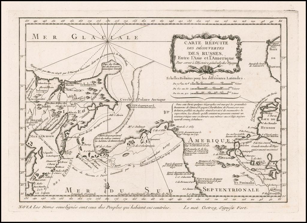 Carte Reduite Des Decouvertes Des Russes Entre l'Asie et l'Amérique . . .  By Jacques Nicolas Bellin