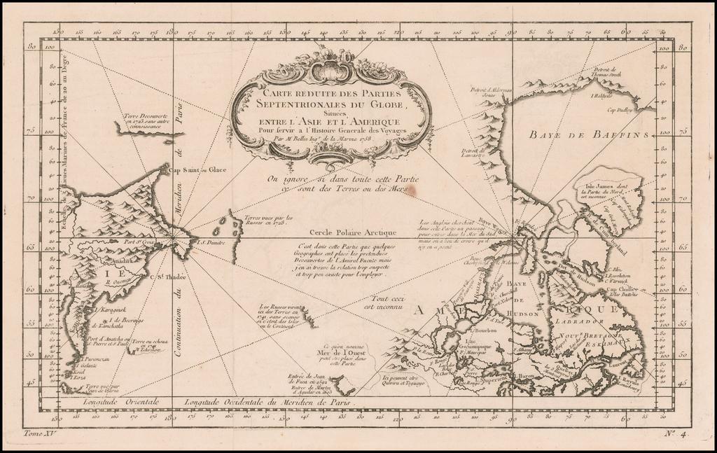 Carte Reduite Des Parties Septentrionales Du Globe.. 1758 By Jacques Nicolas Bellin