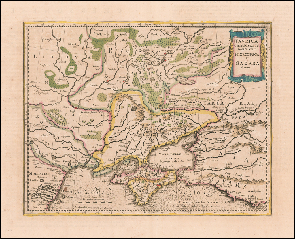 Taurica Chersonesus. Nostra aetate Przecopsca, at Gazara dicitur. By Jodocus Hondius - Gerhard Mercator