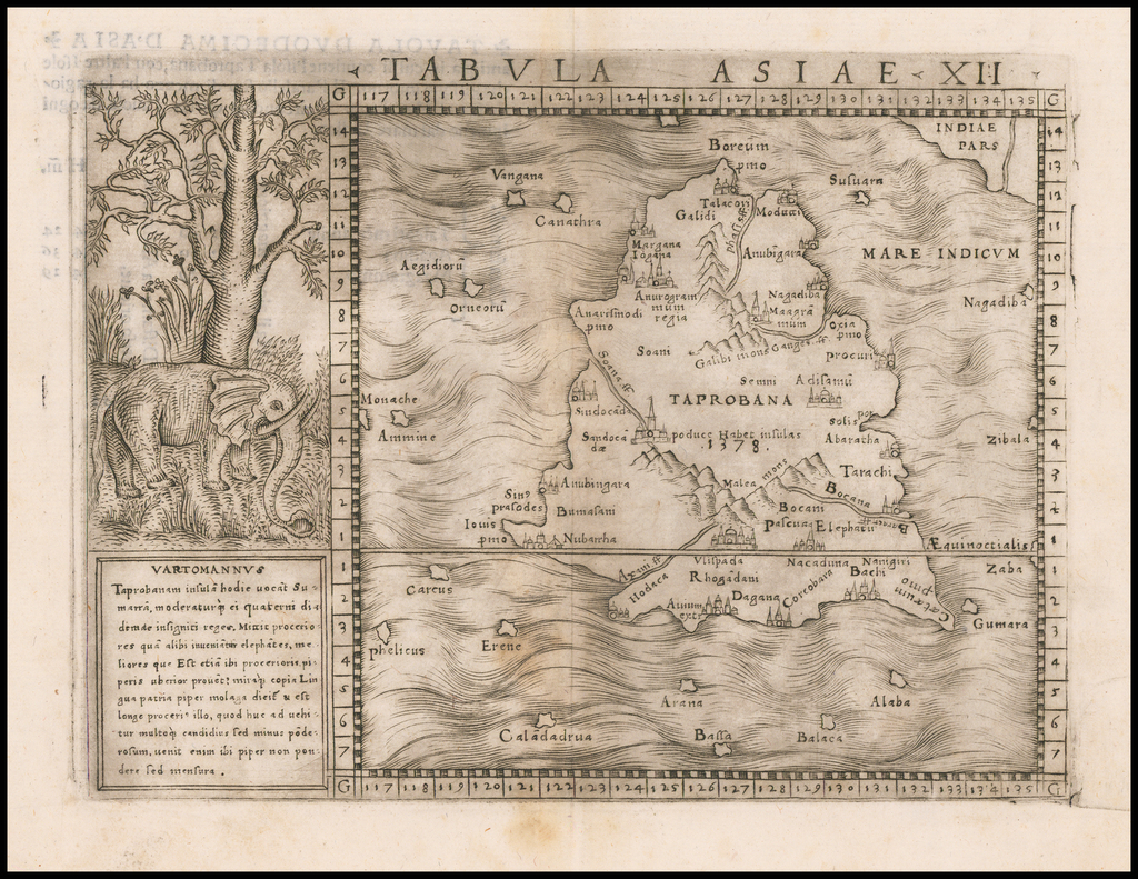Tabula Asiae XII [Sri Lanka] By Giacomo Gastaldi