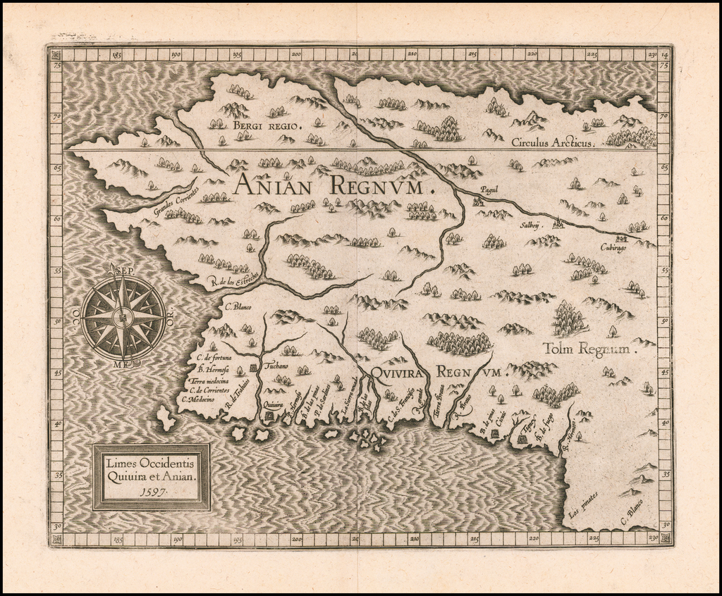 Limes Occidentis Quivira et Anian. 1597 [Northwest Coast & Northwest Passage] By Cornelis van Wytfliet