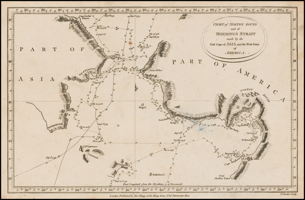 Chart of Norton Sound and of Bherings Strait made by the East Cape of Asia and the West Point of America By James Cook