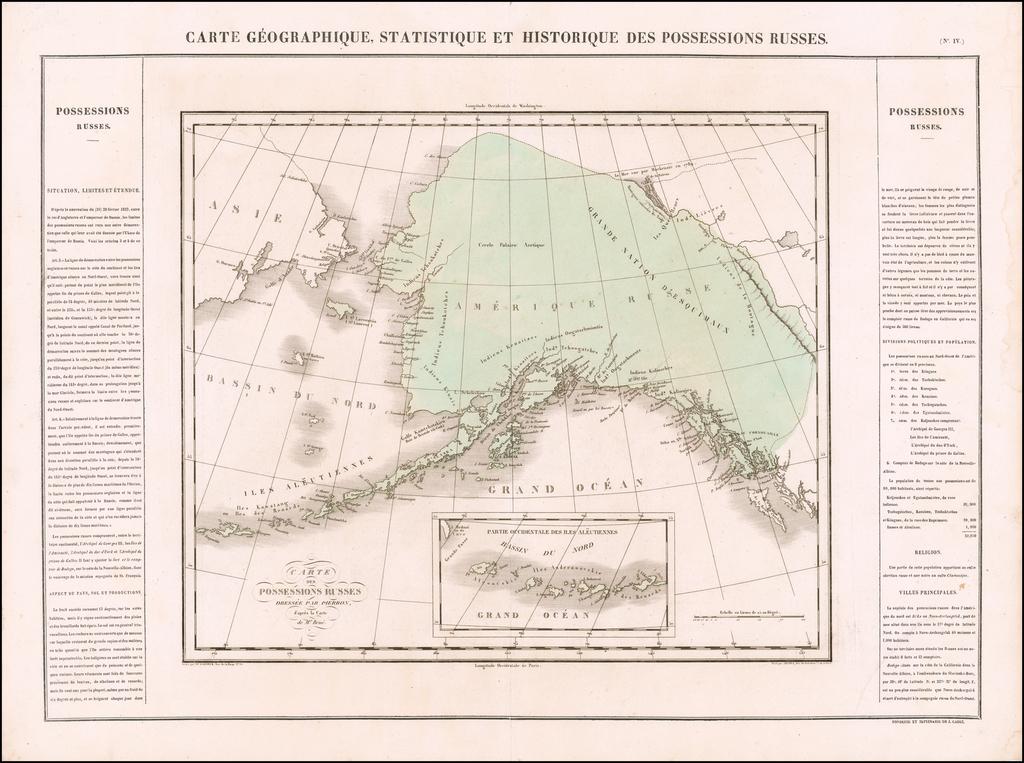 Carte Geographique, Statistique et Historique Des Possessions Russes By Jean Alexandre Buchon