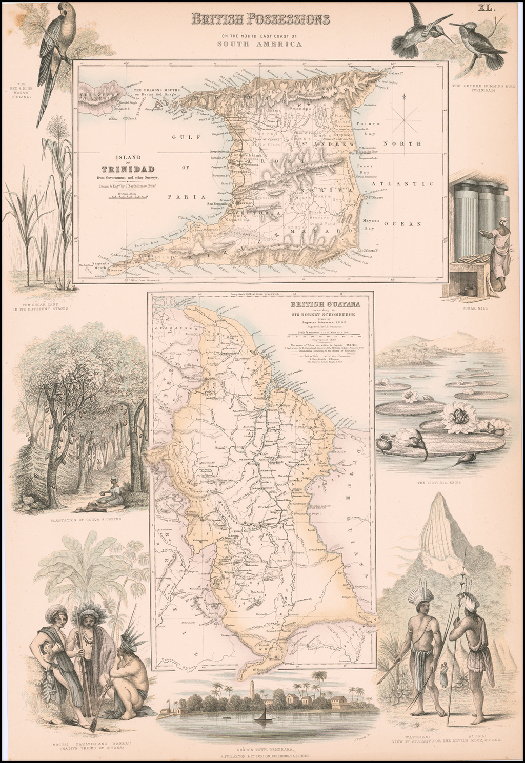 British Possessions on the North East Coast of South America (Trinidad and British Guyana)  By Archibald Fullarton & Co.