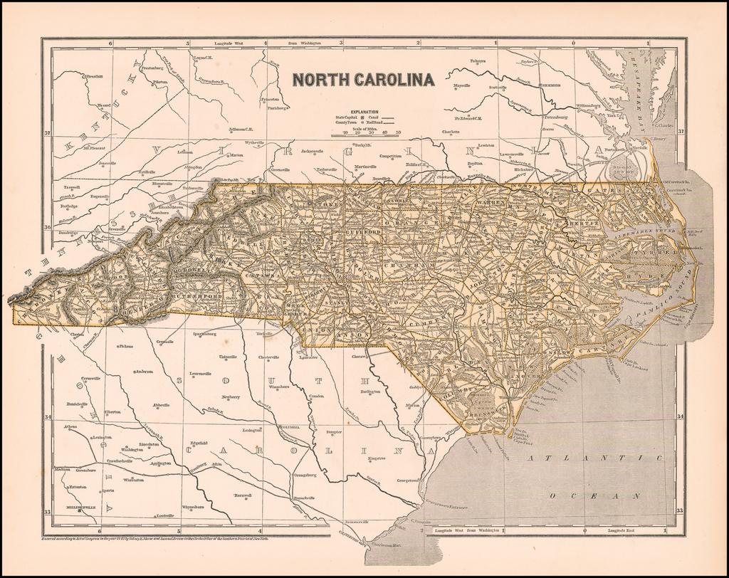 North Carolina By Sidney Morse  &  Samuel Breese