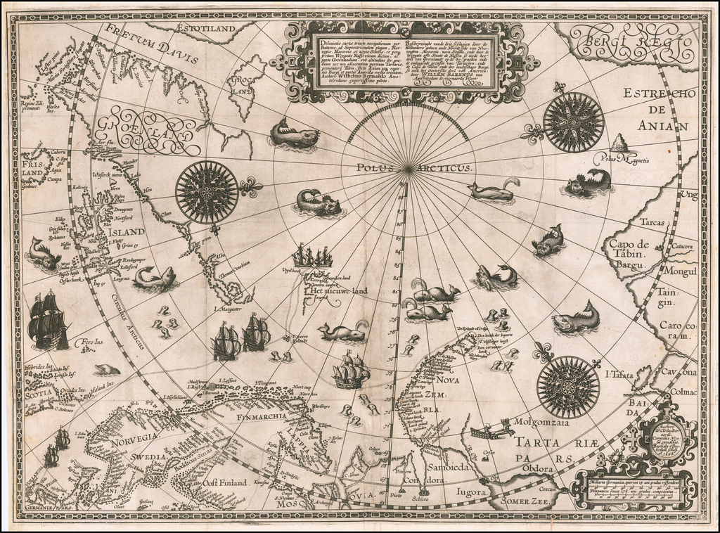 Deliniatio Cartae Trium Navigationum per Batavos, ad Septentrionalem Plagam, Norvegiae, Moscoviae, et Novae Semblae . . .  By Willem Barentsz