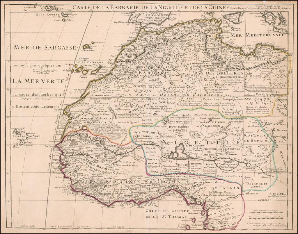 Carte de la Barbarie le la Nigritie et de la Guinée Par Guillaume De L'Isle By Guillaume De L'Isle