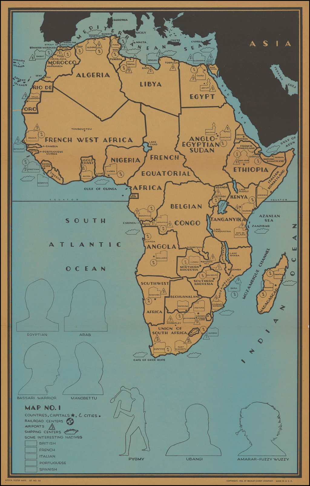 Africa Poster Maps (Complete Set with Instructions, Game Pieces