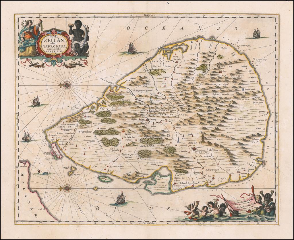 [Sri Lanka]  Insula Zeilan olim Taprobana nunc incolis Tenarisim By Jan Jansson
