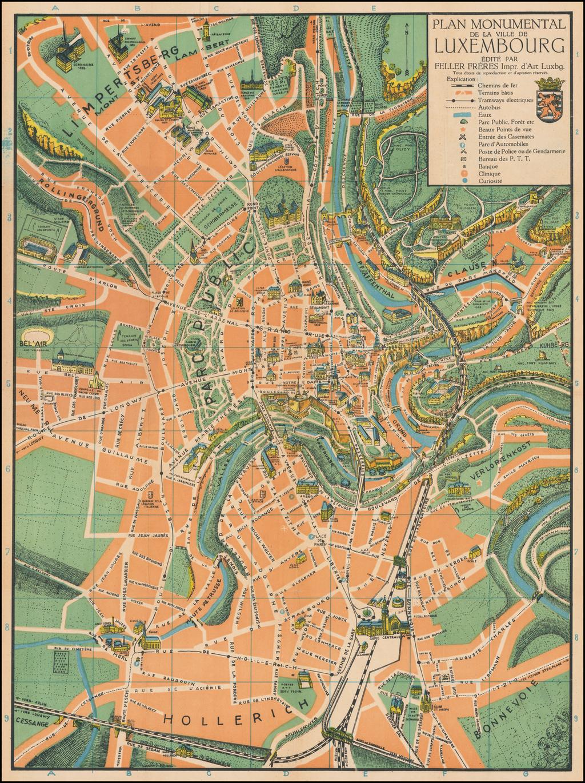 Plan Monumental de la Ville de Luxembourg Édité par Feller Frères Impr. d'Art Luxbg. By Feller Frères