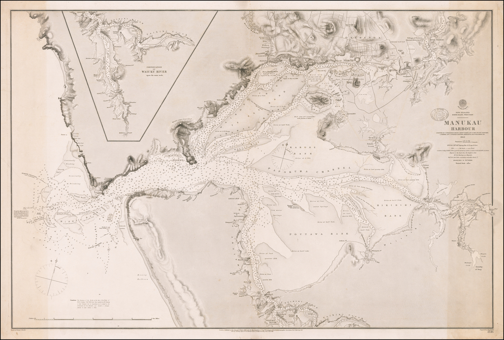 Manukau Harbour  Surveyed By Commander B. Drury; Messrs. H. Kerr, and P. Oke, Second Masters; A. Farmer and C. Stanley, Masters Assistants and W. Blackney, R.N.  1853 By British Admiralty