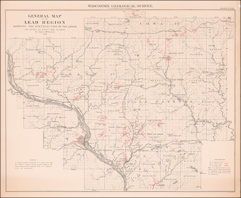 General Map of the Lead Region Showing the Distribution of the Lodes . . . By James Wilson, Jr.  1880 By