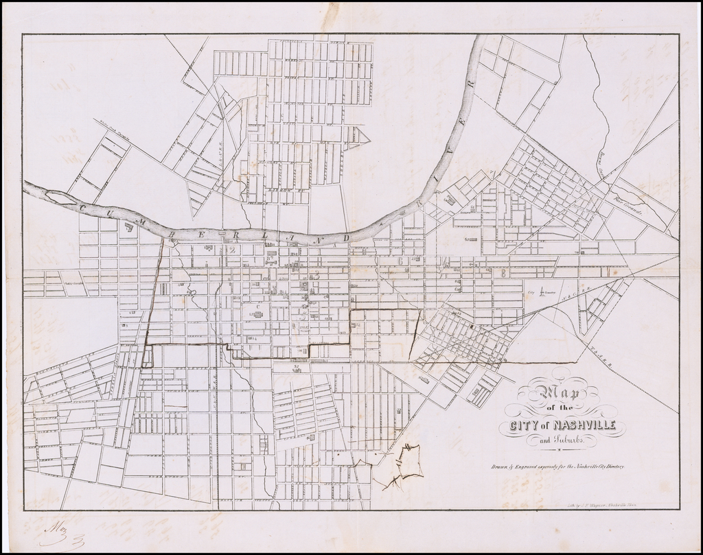 Map of the City of Nashville and Suburbs. By J. F. Wagner