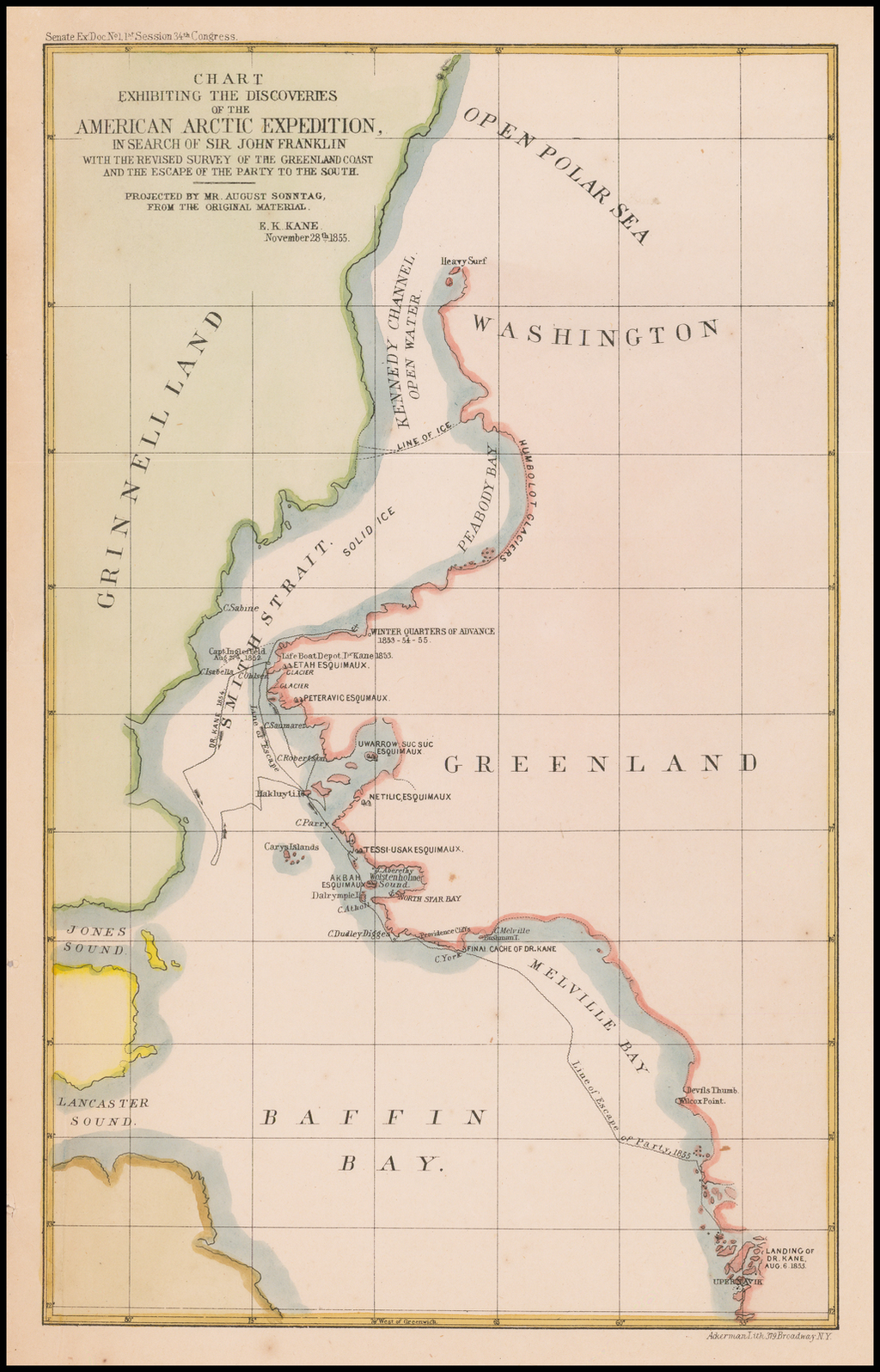 Chart Exhibiting The Discoveries of the American Arctic Expedition, In Search of John Franklin With The Revised Survey of theGreenland Coast and the Escape of the Party To the South.  Projected by Mr. August Sonntag, From the Original Material.  E. K. Kane.  November 28th 1855 By Ackerman Litho.