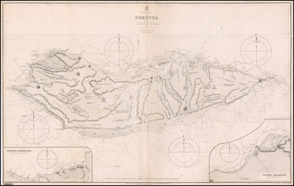 Indian Ocean -- Sokotra Surveyed by Lieutenants S.B. Haines and I.R. Wellsted, I.N. . . . 1835 By British Admiralty