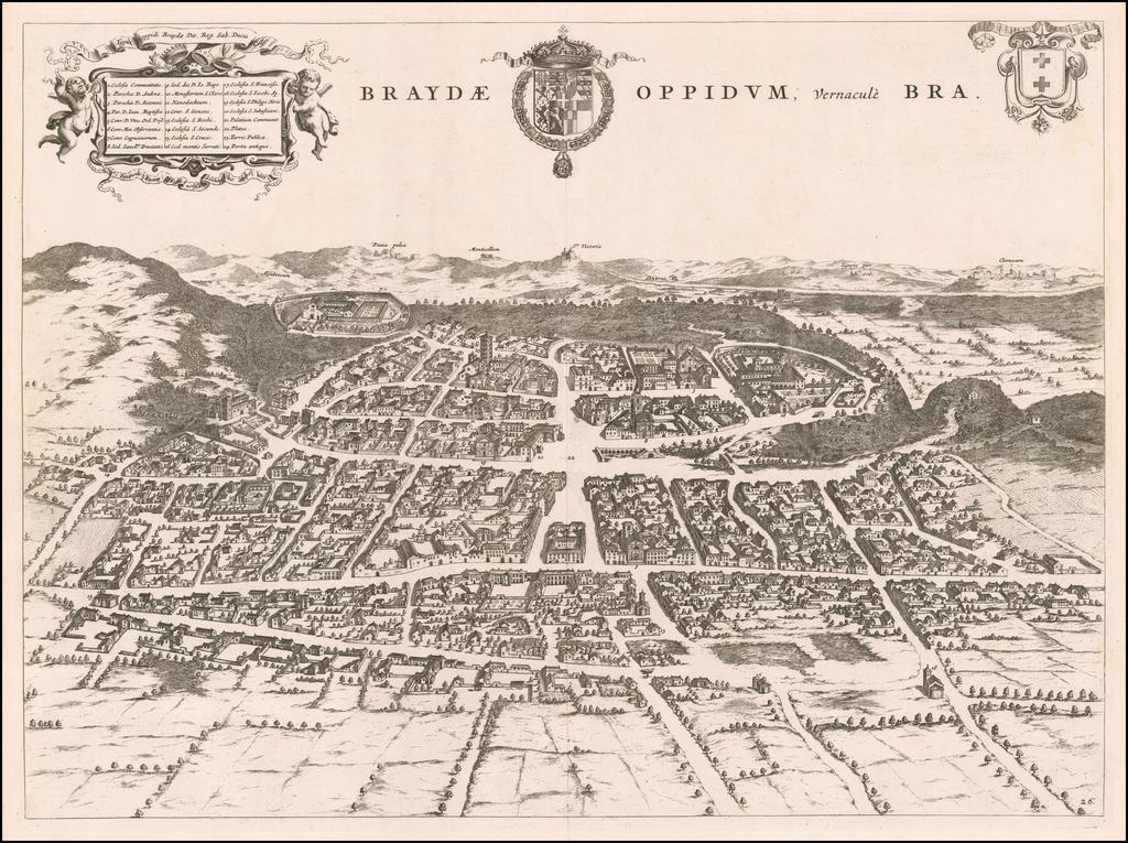 [Bra] Braydae Oppidum, vernacule Bra By Johannes et Cornelis Blaeu