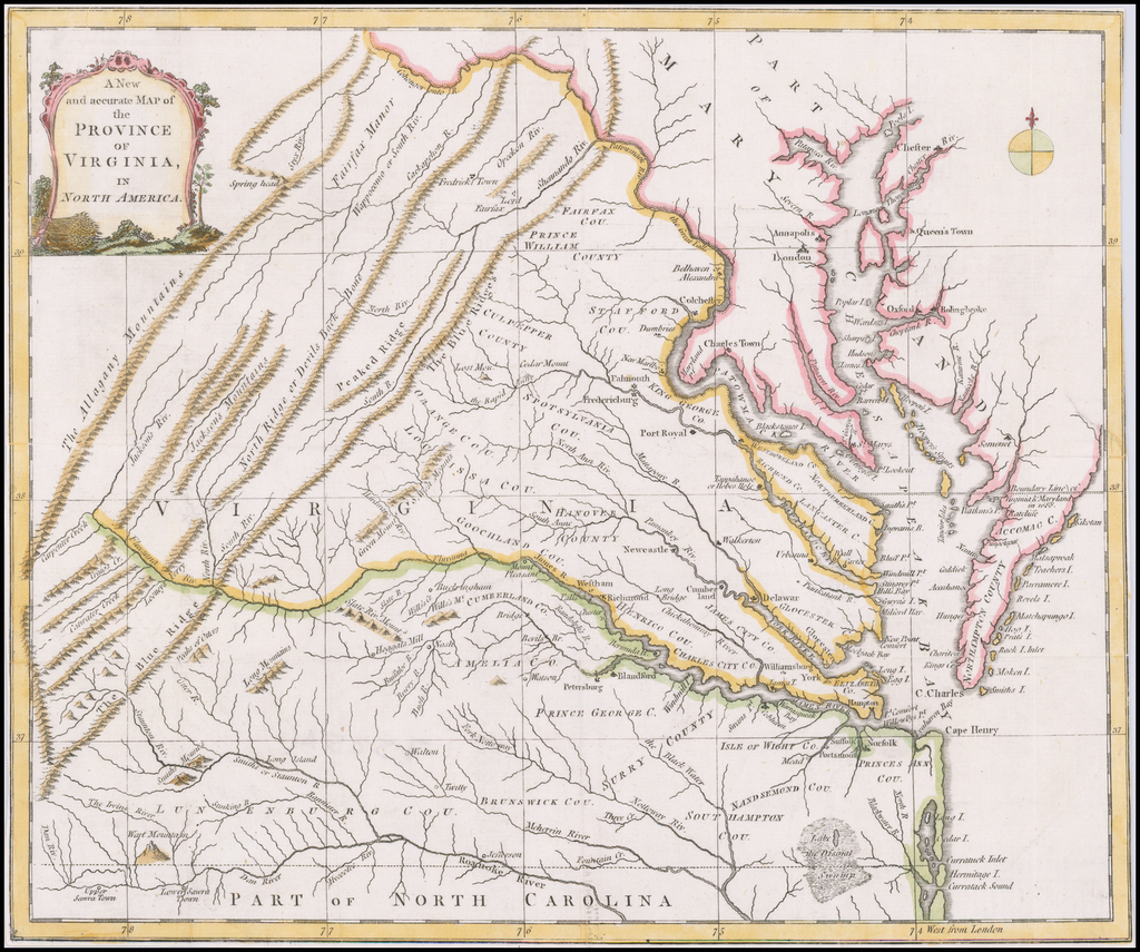A New and Accurate Map of the Province of Virginia in North America By Universal Magazine
