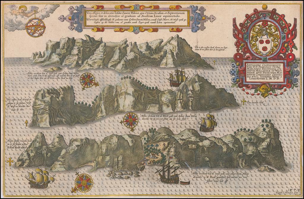 Vera effigies et delineatio Insulae Sanctae Helenae qua Ortum Occasium, et Septentrionem spectat . . .  By Jan Huygen Van Linschoten