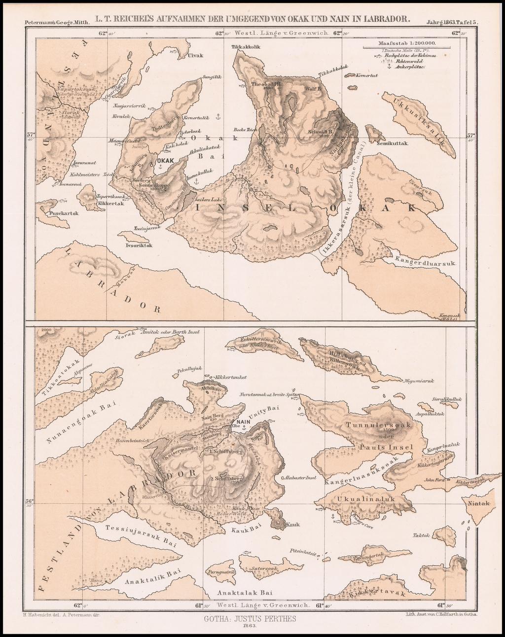 LT. Reichel's Aufnahmen Der Umgegend von Okak und Nain in Labrador By Augustus Herman Petermann