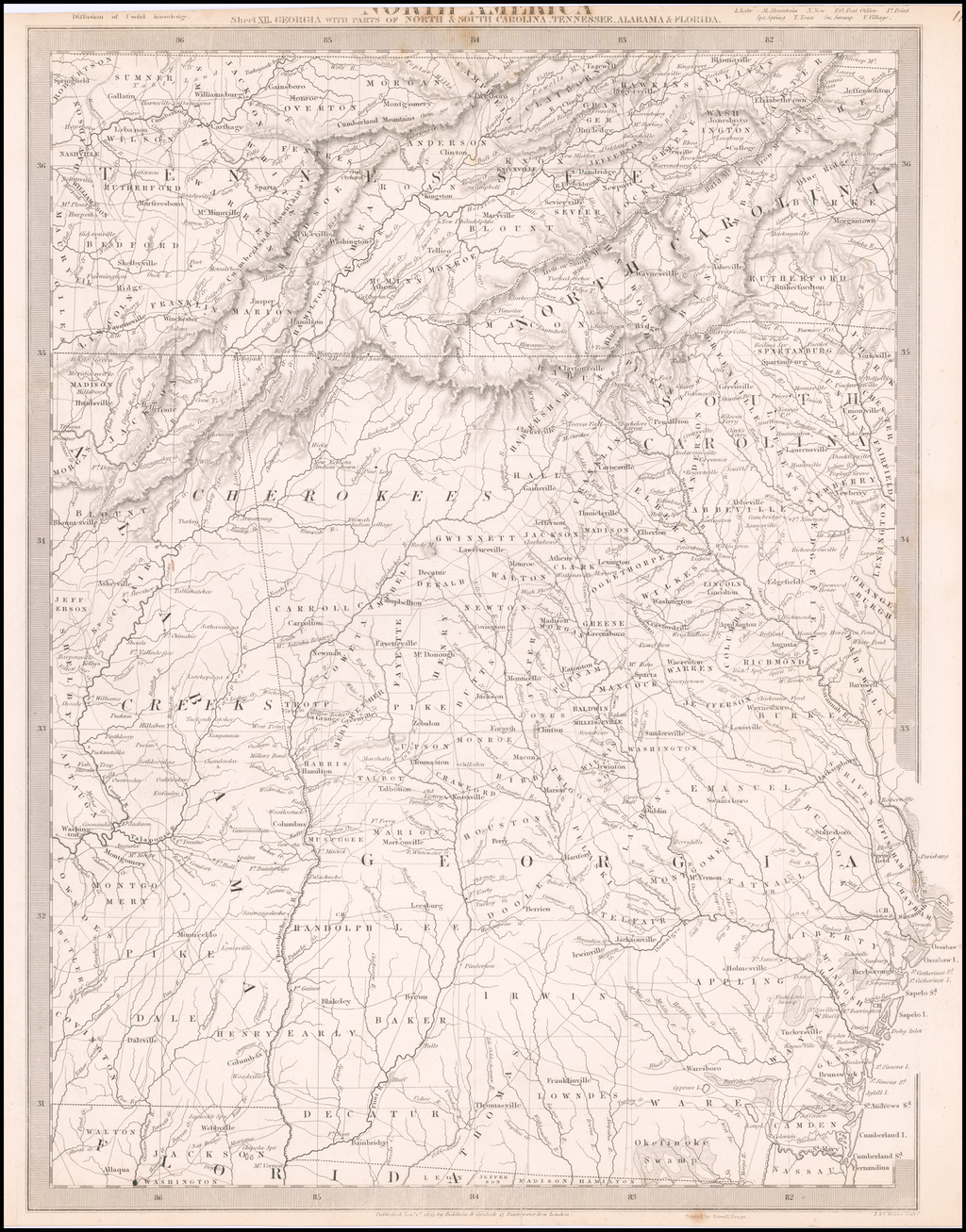 North America Sheet XII. Georgia with Parts of North & South Carolina, Tennessee, Alabama & Florida By SDUK