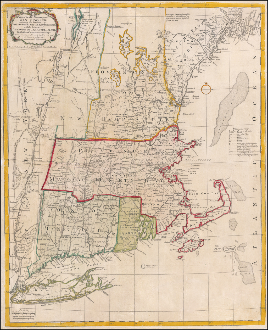 A Map of the most Inhabited part of New England, containing the Provinces of Massachusets Bay and New Hampshire, with the Colonies of Conecticut and Rhode Island, Divided into Counties and Townships . . . 1771 By Carrington Bowles