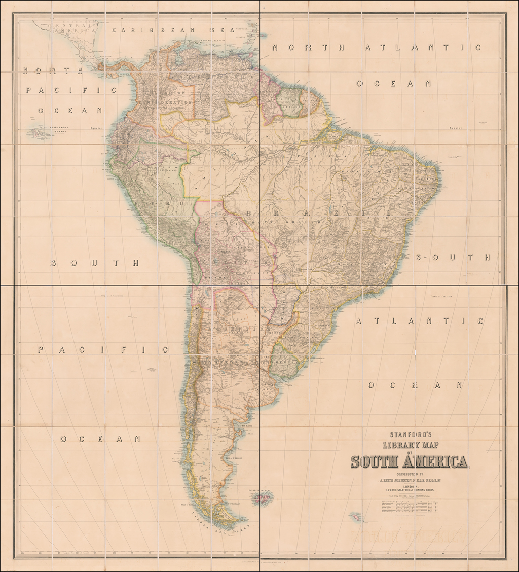 Stanford's Library Map of South America Constructed By A. Keith Johnston . . . 1864 By Edward Stanford