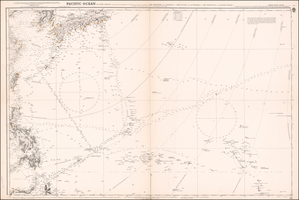 [Philippines, Honshu, Shanghai, Korea, Taiwan]  Pacific Ocean (In Four Sheets)  comprised between the parallels of 37 degrees North and 37 degrees South and extending from the Philippine and Celebes Is., New Guinea and Australia, to San Francisco and Easter Island . . . North West Sheet By British Admiralty