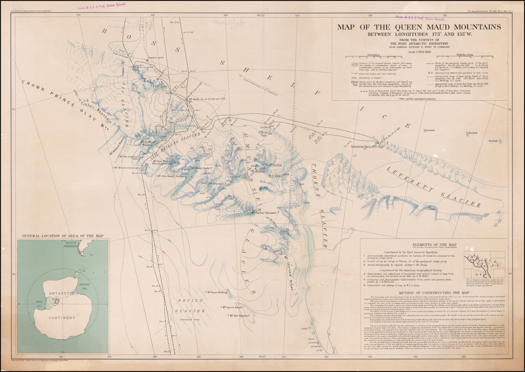 Map of the Queen Maud Mountains Between Longitudes 175⁰ and 135⁰ W. from the surveys of the Byrd Antarctic Expedition By American Geographical Society