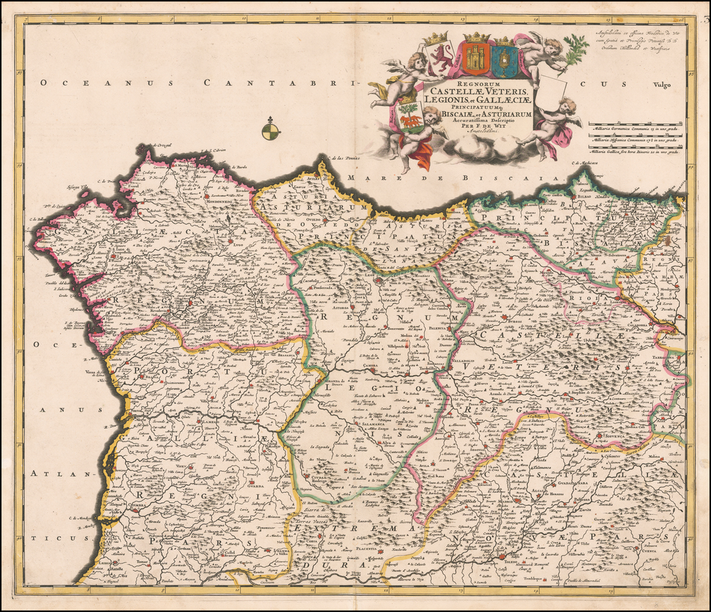 Regnorum Castellae, Veteris, Legionis, et Gallaeciae Principatumque Biscaiae, et Asturiarum Accuratissima Description Per F: De Wit… By Frederick De Wit