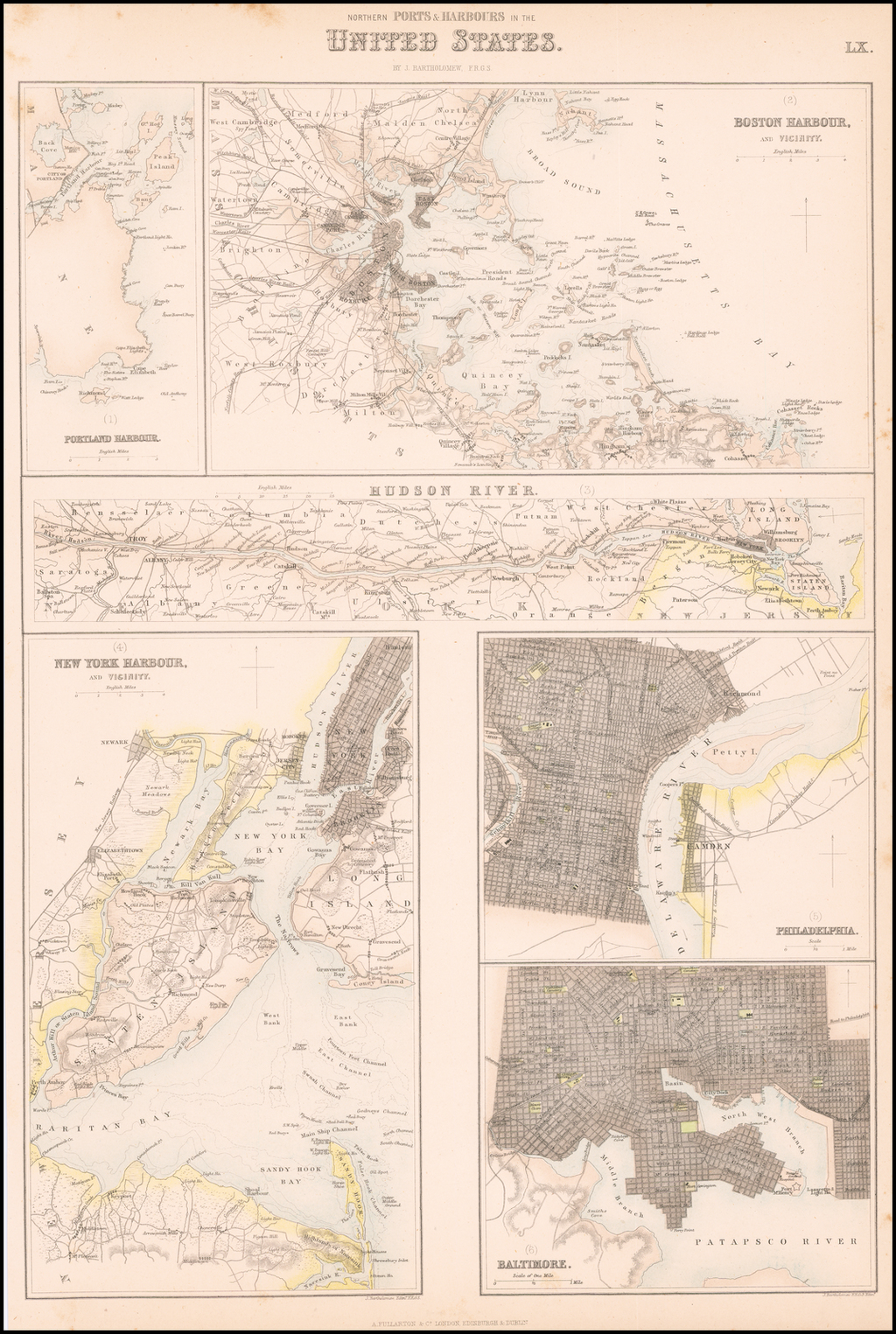 Northern Ports & Harbours in the United States [Portland, Boston, Hudson River, New York, Philadelphia, Baltimore] By Archibald Fullarton & Co.